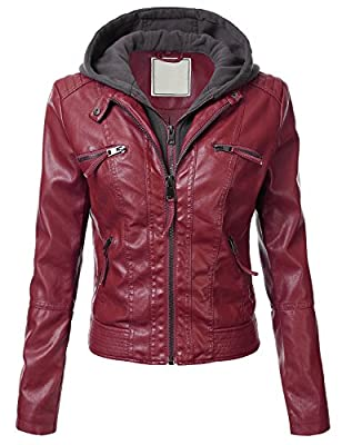 FLORIA Women Hooded Faux Leather Jacket (6 Colors Available)