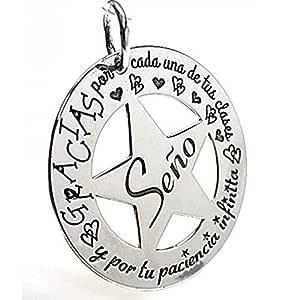 Minoplata Regalos para maestras Colgante Estrella de Plata
