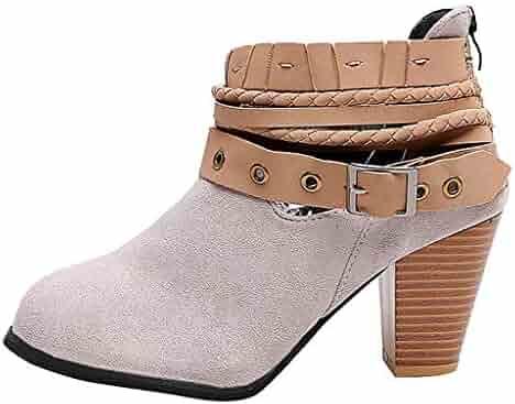 9b4ec3294c30 ONLYTOP_Shoes Women's Wide Width Ankle Booties,👍ONLYTOP👍 Women Comfort  Chunky Mid Heel Casual