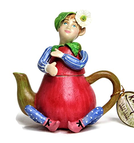 Unique Design Ceramic Porcelain -Fairy Boy Pixie Red Pear Fruit Teapot Shape- Baby Teeth Keepsake Box Tooth Fairy Trinket Holder Cute Children Tooth Storage Container Size 4'' Tall. (Red - Trinket Heart Keepsake Box