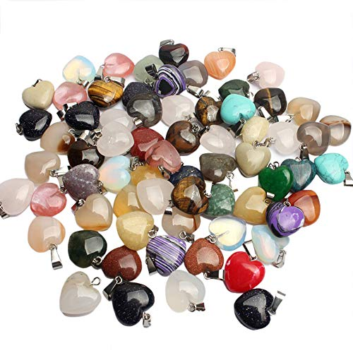 RayLineDo 20Pcs Heart Shape Design Stone Pendants DIY Crystal Charms Chakra Beads with 2 Sizes and Assorted Color for Jewelry Making