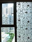 DUOFIRE Window Film Black Flower Pattern Privacy