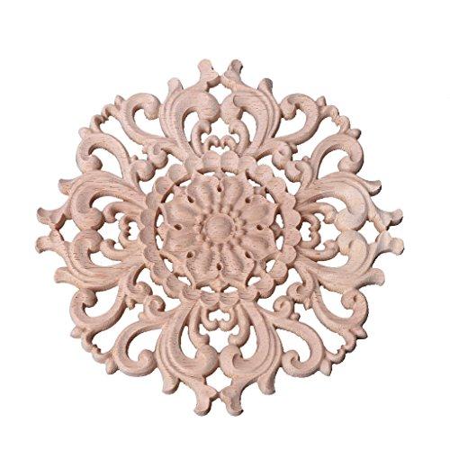 Misright Classic Wood Carved Corner Onlay Applique Frame Decoration Furniture -