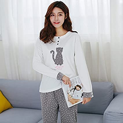 MH-RITA Babyoung 2017 Women Pajamas Set Pyjamas Cotton Cat Pattern Long Sleeve Pijamas Mujer