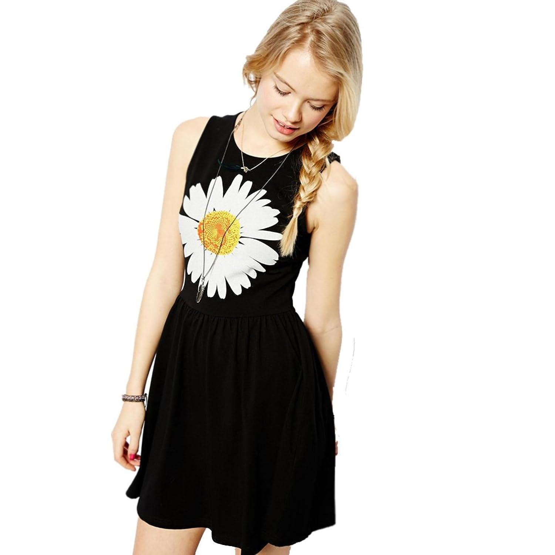 2015 New Girls Daisy Print Dress Vest Dress