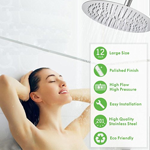 Large Rainfall Shower Head, Voolan 12'' High Flow Stainless Steel Bath Shower, High Pressure Adjustable Luxury Showerhead, Waterfall Full Body Coverage with Silicone Nozzle (12'' Round) by Voolan (Image #1)