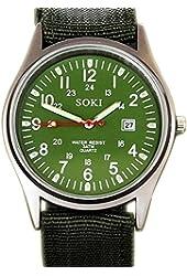 SOKI Military Type Green Dial Date Time Mens Quartz Nylon Band Wrist Watch