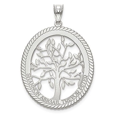 (Jewelry Pendants & Charms Personalized 14kw Laser Polished Family Tree Oval Pendant)