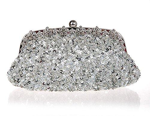 Bags Craft Handbag Gshga Retro Sequin Bag silver Womens Evening Clutch Silver Bag Bride 8xwfxgz