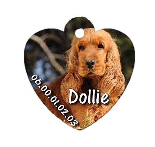 Médaille coeur chien Cocker personnalisée avec nom et numéro de tel magique cadeau