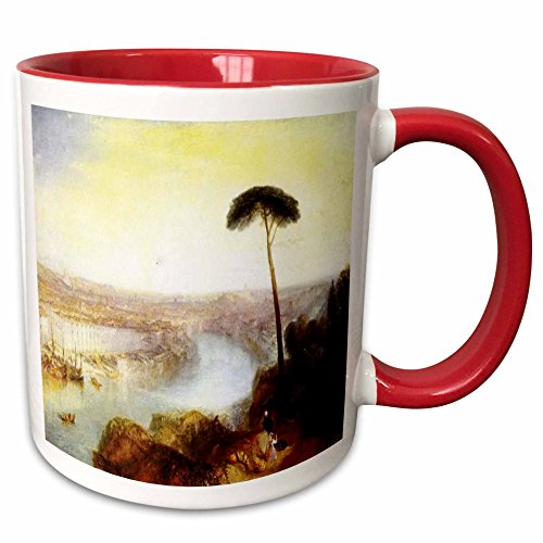3dRose Florene Famous British Seascape Paintings - British Painter Turners Rome From Mount Aventine Painting - 15oz Two-Tone Red Mug (mug_150966_10)