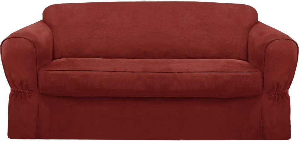 Maytex Piped Suede Slipcover Sofa, 2-Piece (Sage) 4001111-ssag
