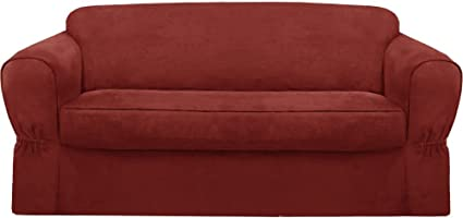Amazon.com: MAYTEX Piped Suede 2-Piece Sofa Furniture Cover ...