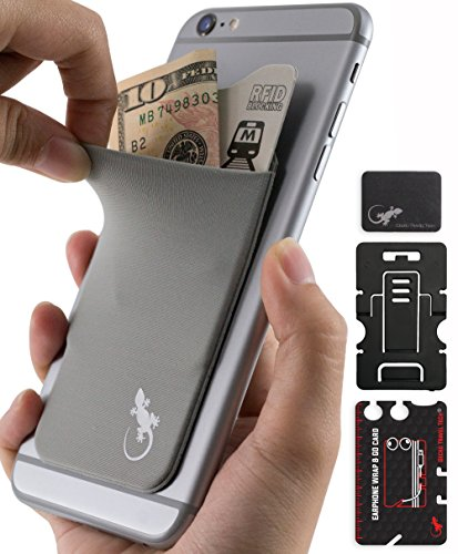 Phone Wallet - Adhesive Card Holder - Cell Phone Pouch - Stick on Lycra Pocket by Gecko - Carry Credit Cards and Cash - with Phone Stand – GRAY by Gecko Travel Tech