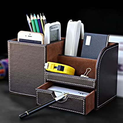 Charmant Table Desk Pen Holder Storage Organizer Elegant Faux Leather With Delicate  White Stitching To Keep Your