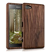 kwmobile Natural wood case for the Sony Xperia Z5 Compact in rosewood dark brown