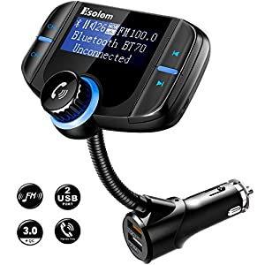 FM Transmitter, Wireless Radio Bluetooth FM Transmitter for Car Audio Stereo, In Car Aux Bluetooth Adapter for Car/Cell Phone/Hands Free Calling System w QC3.0/Dual USB Ports/TF Card Slot by Esolom