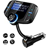 FM Transmitter, Wireless Radio Bluetooth FM Transmitter for Car Audio Stereo, In Car Aux Bluetooth Adapter for Car/Cell Phone/Hands Free Calling System w\ QC3.0/Dual USB Ports/TF Card Slot by Esolom