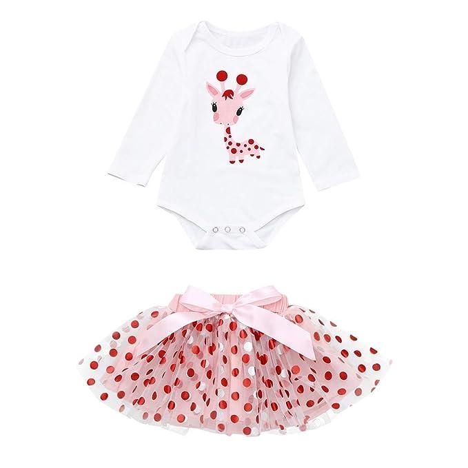 6cd3c4b3e Cinnamou Bebé Recién Nacido Trajes de Dos Piezas Bebés Niñas Dibujos  Animados Jirafa Mono Tops +