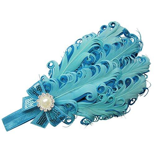 Moleya Baby Girls' Hair Band Clip with Stretchy Headband & Feather (Mix Blue) (Bead Mix Jewel)