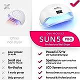 Professional Nail Dryer 72W - SUN 5 Pro Best UV LED Nail Lamp for Fingernail & Toenail Gel Based Polishes – Portable Nail Curing Light with 36pcs LEDs, 4 Timer Settings & Smart Sensor