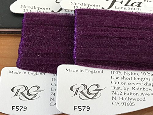 Rainbow GALLERY-FLAIR-100% Nylon-Stretchable Tubular Ribbon for NEEDLEPOINT-COLOR-F579-DARK Purple-This Listing is for 1 Card