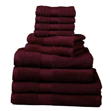 Divatex Home Fashions 10-Piece Deluxe Towel Sets, Cranberry