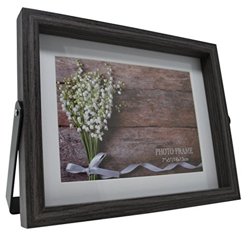 Momentum Home 9.5x7.5 Gray Desktop Picture Frame - Matted to Fit 5x7 inch Horizontal Photo -Black Metal Kickstand