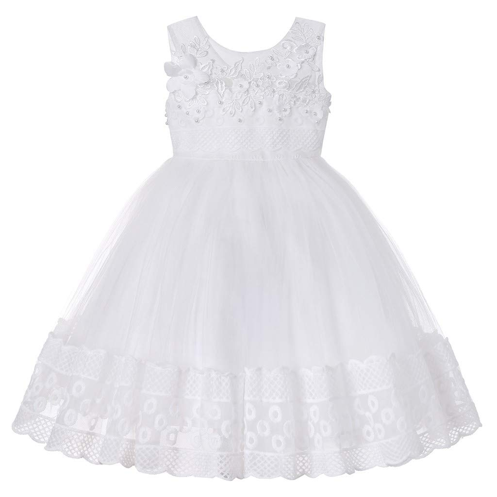 Vinjeely Baby Girls Summer Princess Floral Emboridery Pearl Sleeveless Ruffle Lacy Skirt