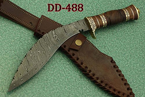 15 Inches Long Hand Forged Damascus Steel Kukri Knife, 10