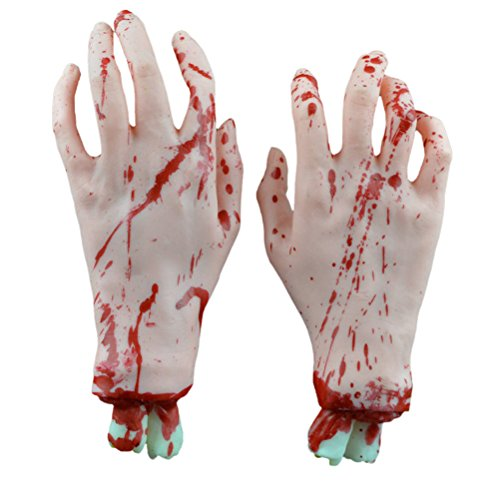BESTOYARD Gory Hands Cut Off Scary Bloody Fake Human Body Parts Halloween Party Decorations Prop (White (Gory Halloween Party Food)