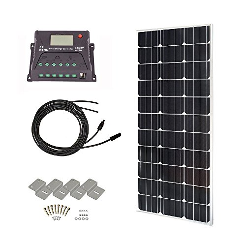 HQST 100 Watts 12 Volts Monocrystalline Slim Solar Panel Off-Grid RV and Boat Kit with 20A PWM LCD Display Charge Controller + Adaptor Cables + Mounting Brackets