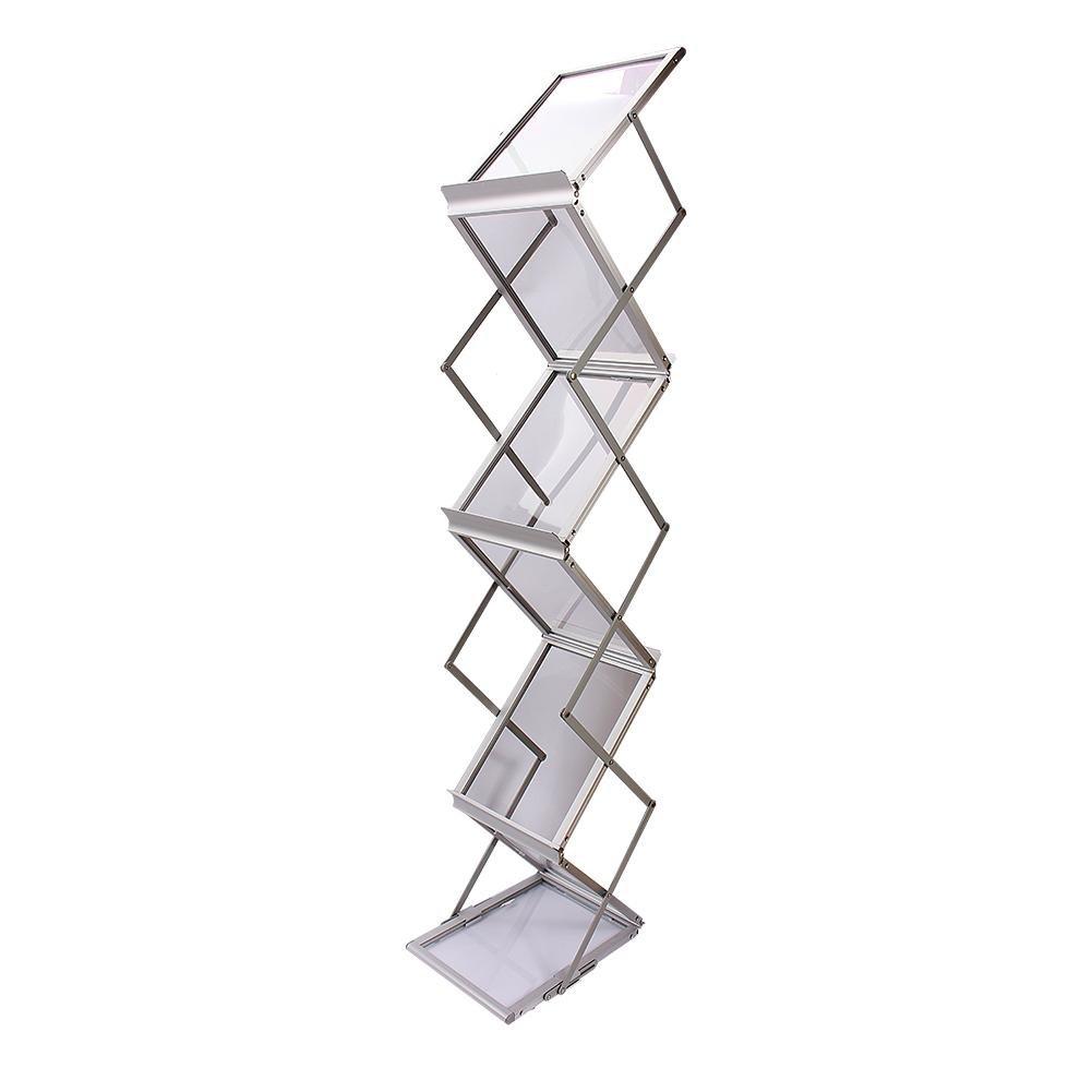 Soporte de exhibici/ón de Datos,Porta folletos Plegable,Caja de Aluminio 6 Bolsillos para folletos A4 y Maleta Plateada,Publicidad Estante de revistas de36.5 x 25x148cm