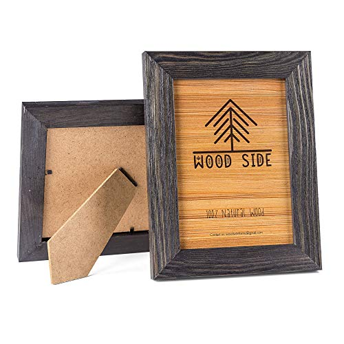 Rustic Wooden Picture Frame 5x7 Inch - Set of 2-100% Natural Eco Distressed Wood - Real Glass - Made for Wall and Table Top Display - Dark Grey