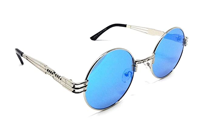 0c13220e30db Amazon.com: XL Oversized Round Classic Luxury Steampunk Sunglasses (Black  Metallic Frame, Light Blue): Clothing