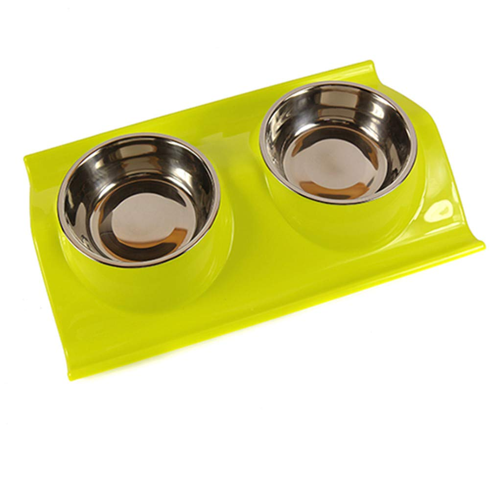 F Forever-You Cat Bowl Dog Bowl pet cat Basin Dog Basin Stainless Steel cat Double Bowl pet Eating Basin, F