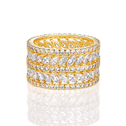 GEMSME 14K Yellow Gold Plated Marquise Cubic Zirconia Eternity Statment Ring for Womrn (7) ()