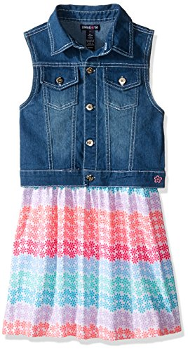 Limited Too Big Girls' Woven Vest and Knit Dress Set, KY89 Multi, - Dress Stretch Denim Knit