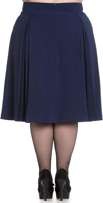 Hell Bunny - Falda - para mujer Navyblau Plus Size XXXXL: Amazon ...