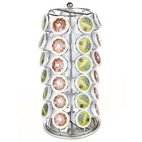 Lily's Home K Cup Holder Carousel for 42 K-Cups. K Cup Storage in Style (Chrome)