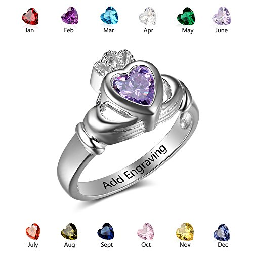 Personalized Simulate Birthstone Rings Irish Claddagh Name Rings Custom Engagement Wedding Heart Ring (6)