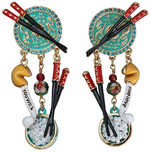 Ritzy Couture Women's Multi Charm Chinese Takeout Enamel Drop Dangle Earrings (Goldtone) (Post)