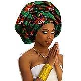"Chien Multi-color Urban Ladies Hair Accessory Headband,Bazin Wax Print Wrap Tie Scarf, African Head Scarf Gele Ipele Extra Long 70""x20"" (Color 01)"
