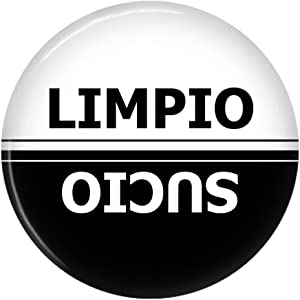 Clean Dirty Limpio Sucio Dishwasher Magnet Sign Indicator (Black White Span)