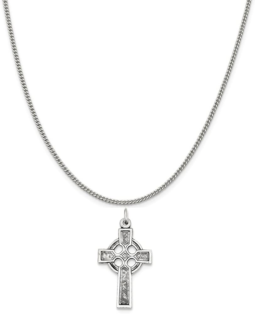 16-20 Mireval Sterling Silver Celtic Cross Charm on a Sterling Silver Chain Necklace