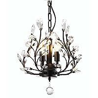 Garwarm Modern Crystal Chandeliers,Ceiling Lights Fixtures,Pendant Lighting for Living Room Bedroom Restaurant Porch Dining Room (3-Light,Black)