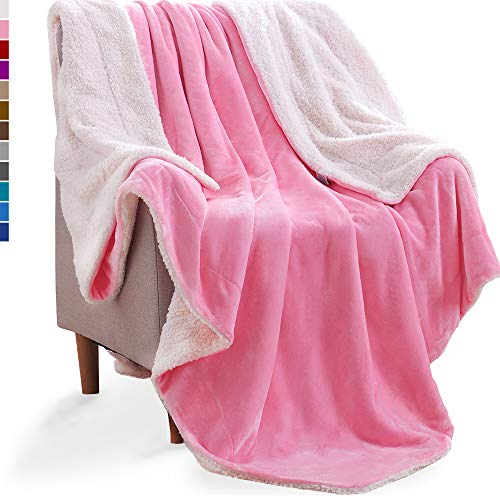 KAWAHOME Cozy Sherpa Blanket for Couch Sofa Bed Super Warm Thick Spring Winter Blanket Full Queen Size 90 X 90 Inches Pink