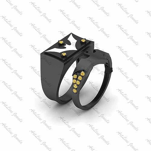 Artline joyas anillo Collection-: 14 K chapado en oro negro Fn aleación imitación diamond