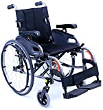 Karman Healthcare Ultra Lightweight Adjustable Wheelchair, Diamond Black, 16''x18''