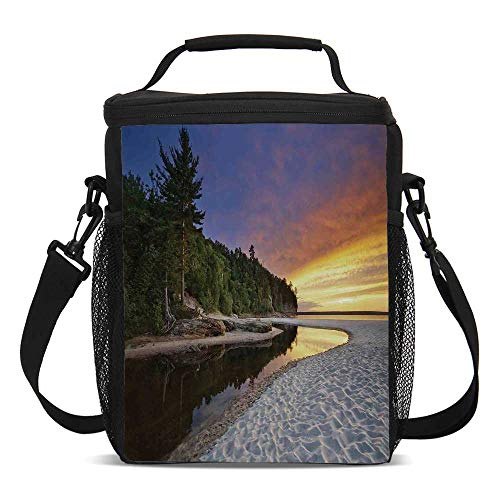 Landscape Beautiful Children's Printed Lunch Bag,Scenic Seaside Sunset Wavy Waters Seafoam Trees Forest Hill Colorful Cloudy Sky For picnic,One size ()